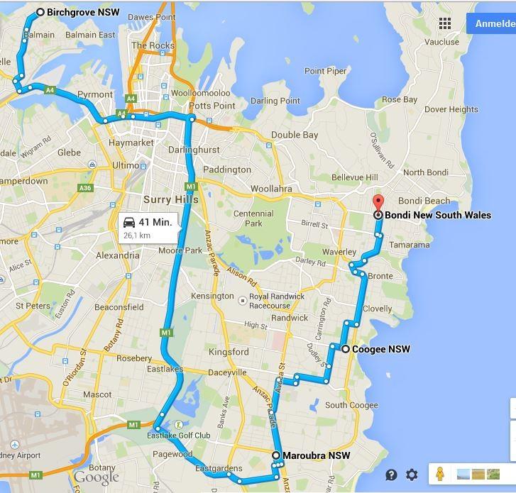 Die erste Zeit in Sydney: Route 1 - 01.04.2015 bis 07.04.2015