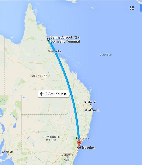 Unser Inlandflug... (Quelle: Google Maps)