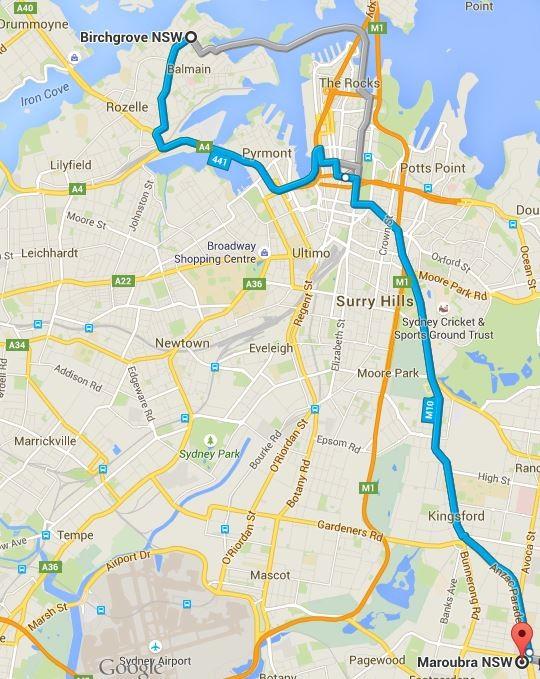Einmal quer durch Sydney - der erste Umzug steht an... (Quelle: Google Maps)