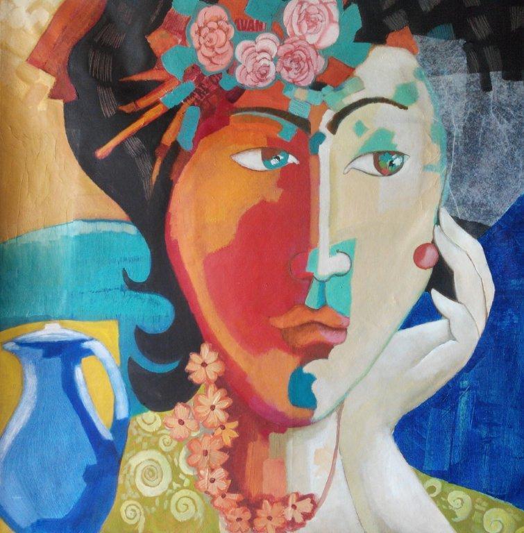 femme à la cruche  98 sur 98 acrylique