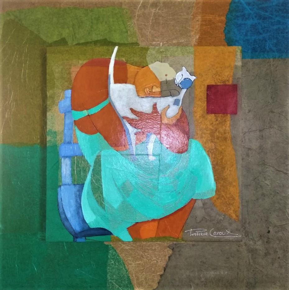 la femme au chat 54/54 avec encadrement acrylique