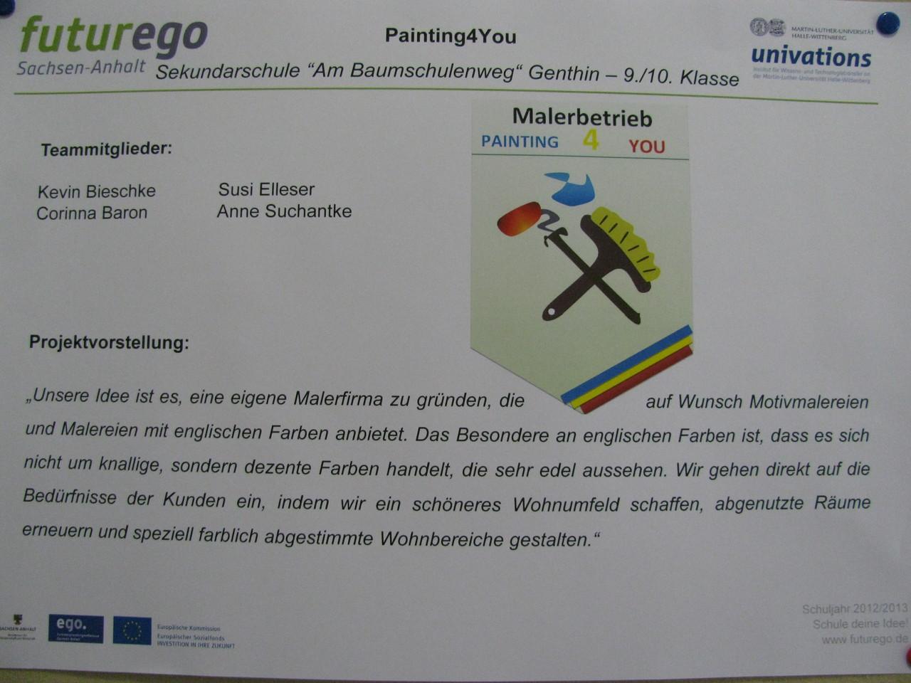 Mit dieser Idee nahmen sie am 26.06.2013 einen der zwei Sonderpreise beim landesweiten Schüler - Businessplanwettbewerb futurego Sachsen - Anhalt entgegen.