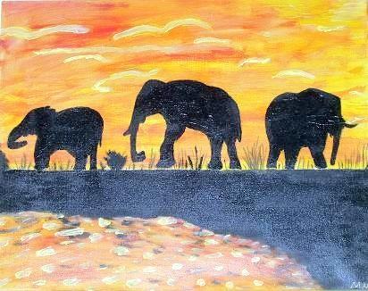 Elefanten - 70 x 50 cm Nicht mehr verfügbar! Ein fröhliches Werk ganz in Orange. Die kleine Herde steht friedlich im Gegenlicht an einem Weiher.