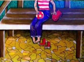 Allein- 100 x 70 cm - 400,-- Einsam sitzt der kleine Junge auf der Parkbank, den Koffer neben sich, den Ball in der Hand. Wann kommt jemand, und hilft ihm, die Stiefelchen anzuziehen?