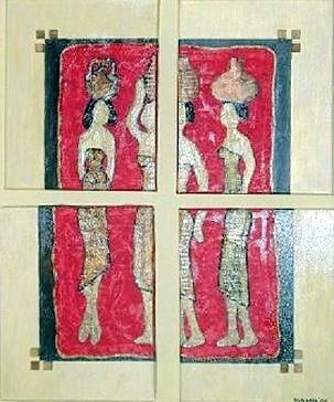 Afrikanerinnen 4 Bilder je 20 x 10 cm - 200,-- (jeweils zwei Bilder sind miteinander verbunden)  Phantasievolle Collage bestehend aus Seidenpapier, aufgesetzten Holzwürfeln, bearbeiteten Figuren aus Malkarton. Aufwendig mehrfach goldfarben lasiert.