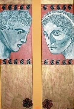 Römer: Mann & Frau Zwillingsbilder je 140 x 40 cm - zusammen 600,--