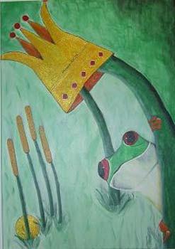 Frosch - 70 x 50 cm Nicht mehr verfügbar! Lustige Darstellung eines kleinen Frosches, der vorwitzig hinter einem Grashalm hervorschaut. Seine golden glänzende Krone baumelt riesengroß über ihm.