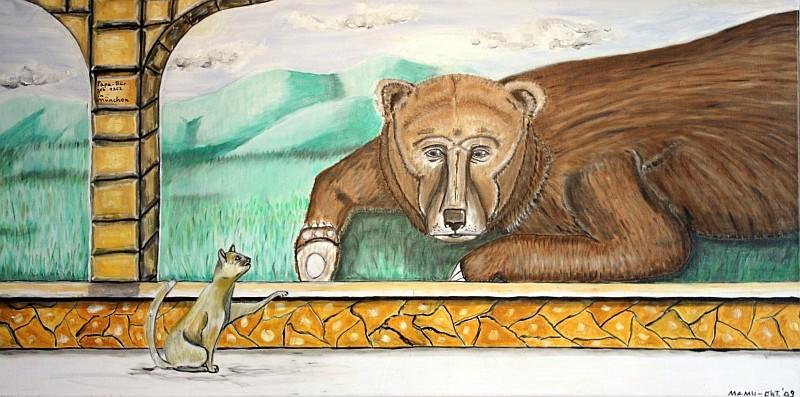 Papa - Bär und das Kätzchen - 100 x 50 cm - 370,--Das kleine Kätzchen möchte so gerne zum dicken Bären in das grüne hügelige Land, wo immer die Sonne scheint. Leider trennt sie eine Glaswand voneinander. So bleibt ihnen nur, sich wehmütig anzuschauen.