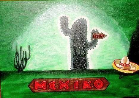 Mexico - 70 x 50 cm Nicht mehr verfügbar! Wo geht`s denn hier nach Accapulco? Der Schriftzug ist aufwendig mit Strukturpaste gearbeitet. Stimmungsvolles Bild im kräftigen Grün - nicht nur für Globetrotter.