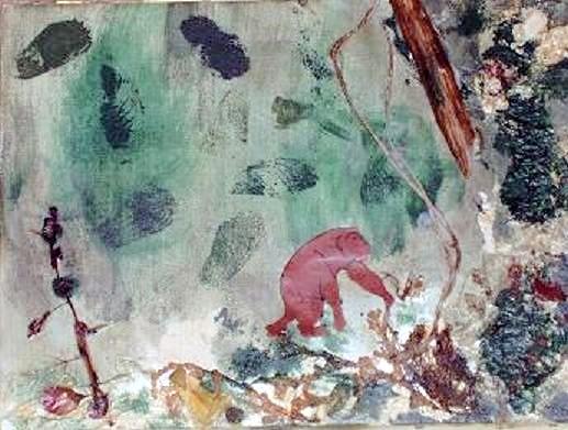 Dschungel - 30 x 20 cm - 90,-- Ein aufgesetztes Äffchen schwingt sich durchs dichte Grün des Urwalds. Die Liane besteht aus einem Sisalband.