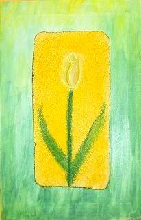 Tulpe aus Holz-  40 x 20 cm - 120,-- Grünes Werk aus unterschiedlichen Materialien. Der geriffelte gelbe Untergrund wurde nur teilweise befestigt, das ergibt einen interessanten und plastischen Effekt.