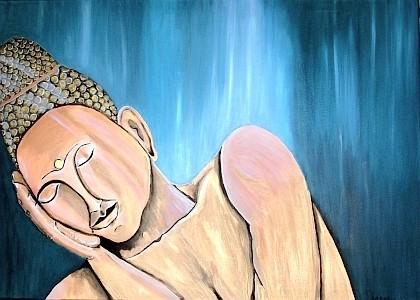 Silence - 100 x 70 cm - 500,-- Friedlich sitzt der Buddha da, den Kopf geneigt, von der Hand gestützt - so soll er dem Betrachter Ruhe und Zufriedenheit schenken.