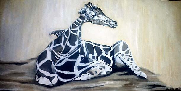 Giraffe - 100 x 50 x 3,8 cm Nicht mehr verfügbar!  Vor sich hin dösend genießt die Giraffe eine kleine Ruhepause. Wenn nur nicht das Aufstehen immer so schwer wäre...