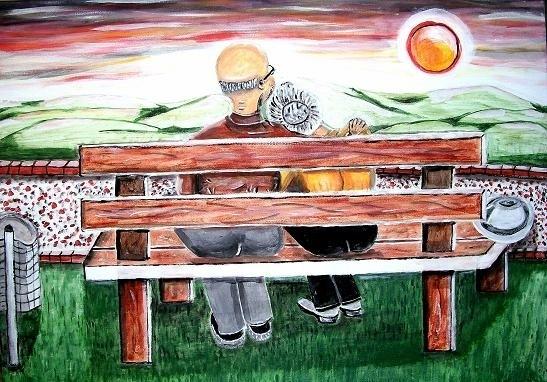 """Alte Liebe - 70 x 50 cm Aus der Serie:Alte Liebe"""" Nicht mehr verfügbar!  Naive friedliche Darstellung eines älteren Paares. Umschlungen genießen sie den Sonnenuntergang in der Natur."""
