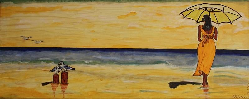 Strandschönheit - 100 x 50 cm Nicht mehr verfügbar! Freundliches Bild in hellen Farben lässt die Sehnsucht aufkommen, ebenfalls am Meer spazieren gehen zu wollen. Die Möwen und der Wind gehören einfach dazu.