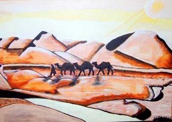Sahara - 70 x 50 cm Nicht mehr verfügbar!  Freundliches Bild über die Wüste und deren Bewohner. In der glutvollen Mittagssonne zieht die Karawane weiter.......