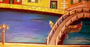 Canale Grand - 100 x 50 cm Nicht mehr verfügbar! Stimmungsvolles naives Bild von Venedig. Das Werk zeigt eine Brücke, Gondel, Statue mit Löwenkopf und eine Häuserzeile in freundlichen Farbtönen.