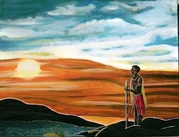 Der Krieger - 90 x 70 cm - 350,-- Nur für einen Moment genießt der stolze Massai den Sonnenuntergang am Fluss, um dann seinen einsamen Streifzug durch die afrikanische Wildnis fortzusetzen.