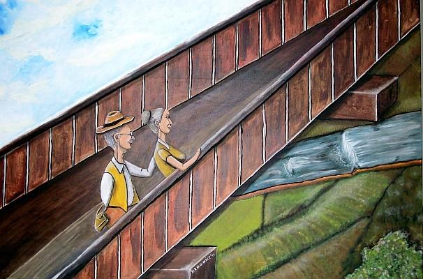 """Gemeinsam statt einsam - 130 x 80 cm Nicht mehr verfügbar! Bei ihrem Spaziergang durch die Natur genießt das ältere Paar den Blick von der Brücke hinunter ins grüne Tal. Aus der Serie: """"Alte Liebe""""."""