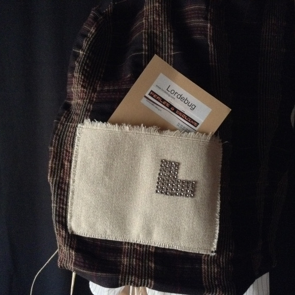 Gros Plan Shopping Bag écossais noir rouge brun  Siglé  L