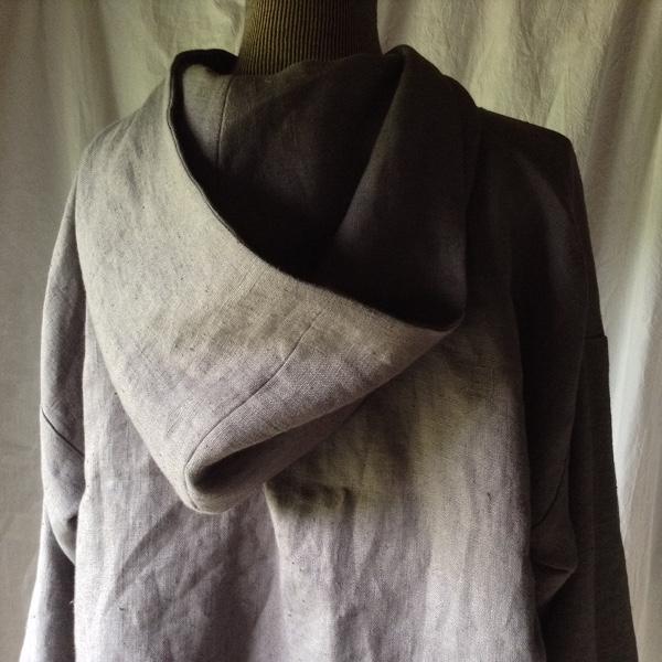 Chemise à Capuche Lin Gris foncé