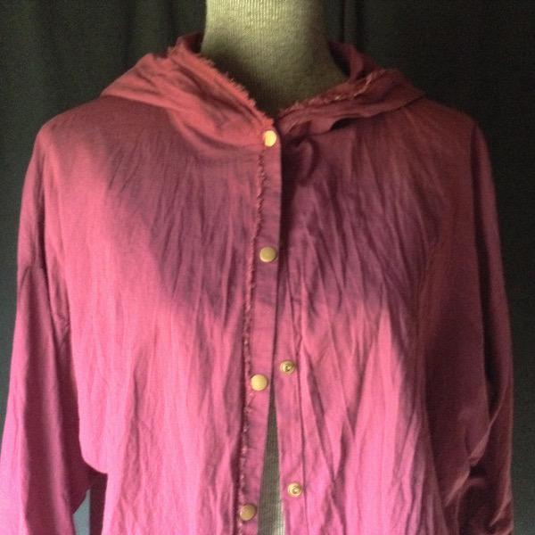 Chemise à Capuche Voile de Coton Lie-de-vin
