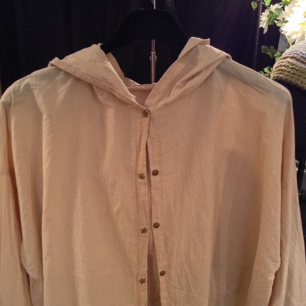 Chemise à Capuche Voile de Coton Sable
