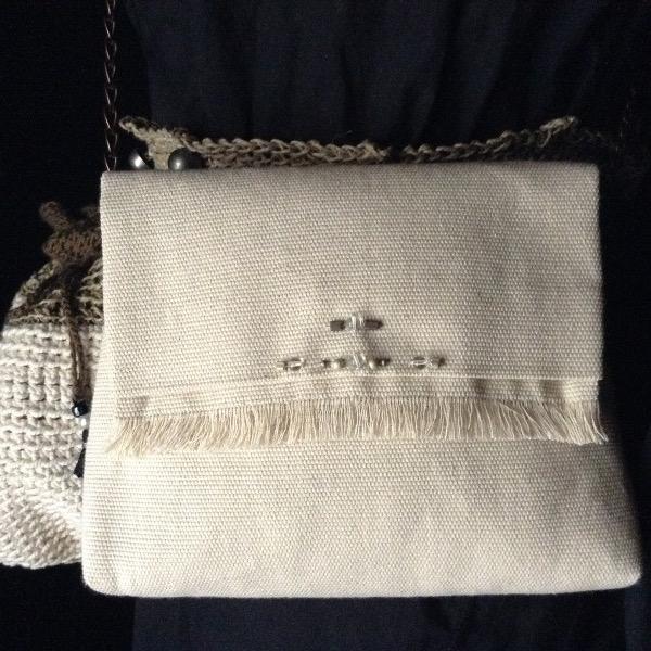 Mini Sac Toile Coton  Brodée Perles