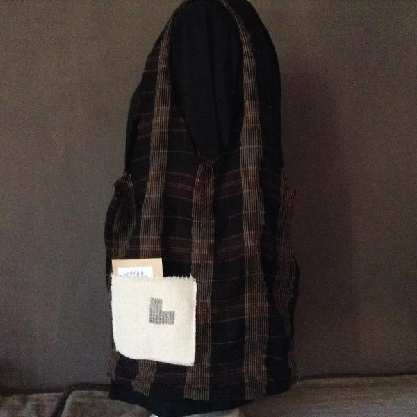 Shopping Bag écossais noir rouge brun Siglé L