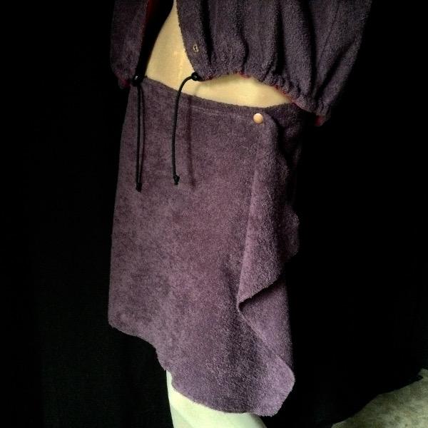 Mini jupe porte-feuilleAubergine