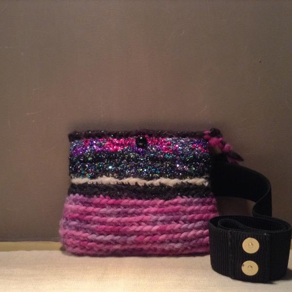 Mini Sac de taille laine Brodé Sequins & Perles