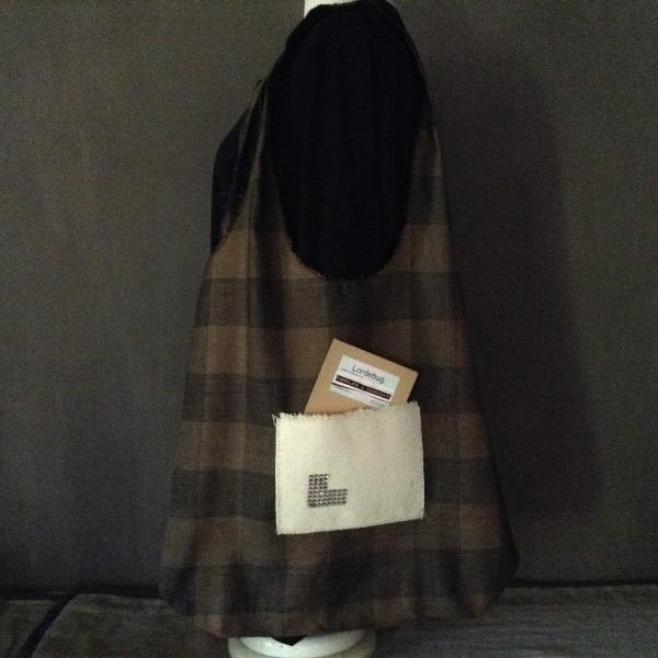 Shopping Bag Lin écossais brun marron noir Siglé L