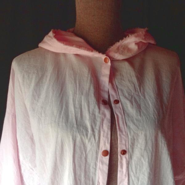 Chemise à Capuche Voile de Coton Rose