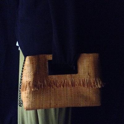 Petit Cabas Raphia Mangue anses & bandoulière