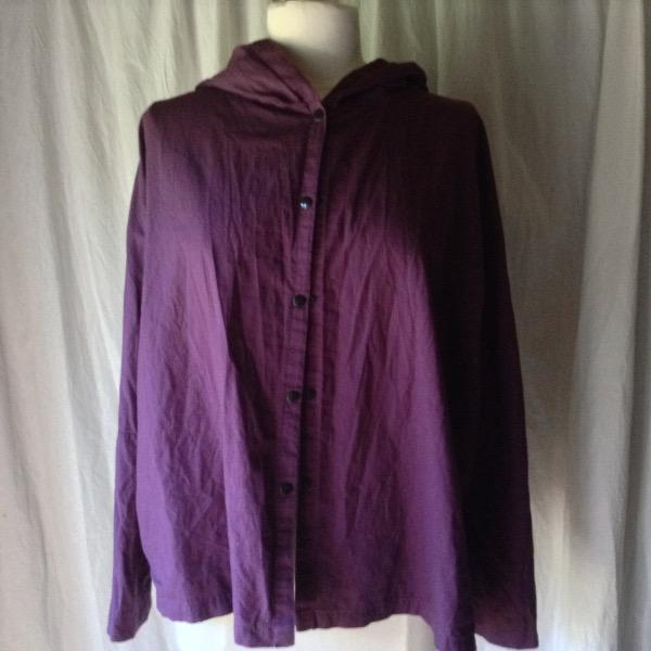 Chemise à CapucheCoton Prune lavé froissé