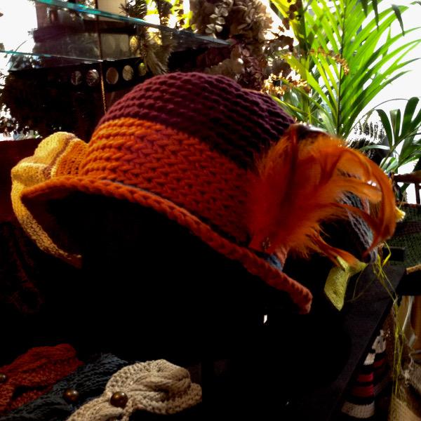 Cloche Coton 3 Couleurs Plumes Orange