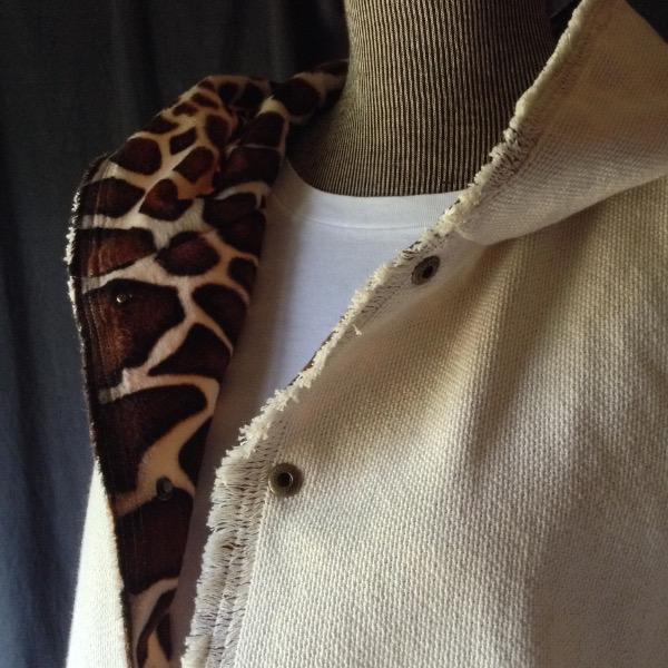 "Veste à Capuche reversible ""Girafe"" & Toile écrue"