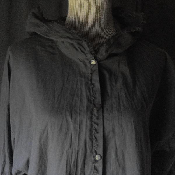 Chemise à Capuche Voile de Coton Noir