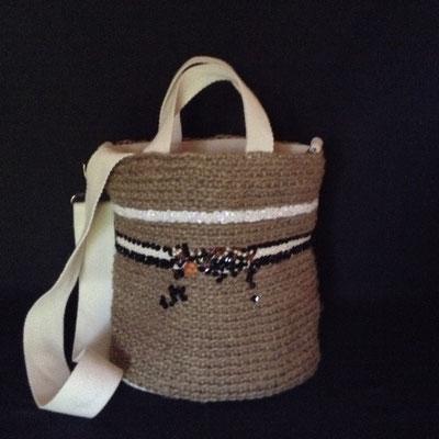 Sac Seau Ficelle de Jute Crochet Brodé Perles & Sequins