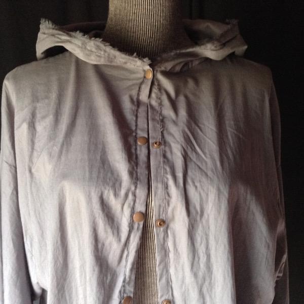 Chemise à Capuche Voile de Coton Gris