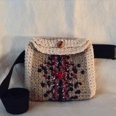 Mini Sac de Taille Crochet Brodé Sequins Perles