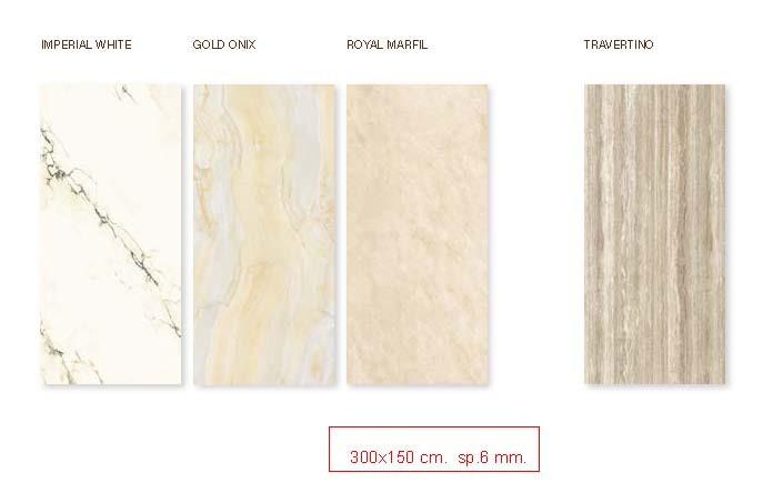 Gres porcellanato misura 300x150 cm. spessore mm.6 levigato lucido scelta commerciale