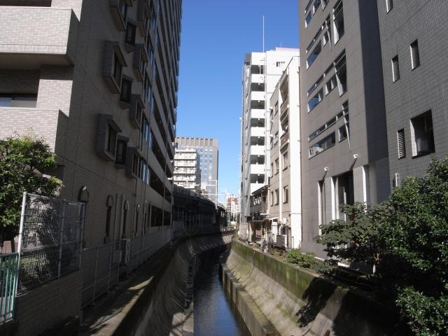 渋谷駅から川に沿って南に歩きます。 奥に見えている東急の高架は 地下鉄副都心線乗り入れ地下化後は見れなくなるのかな?(現在は地下化されています。)