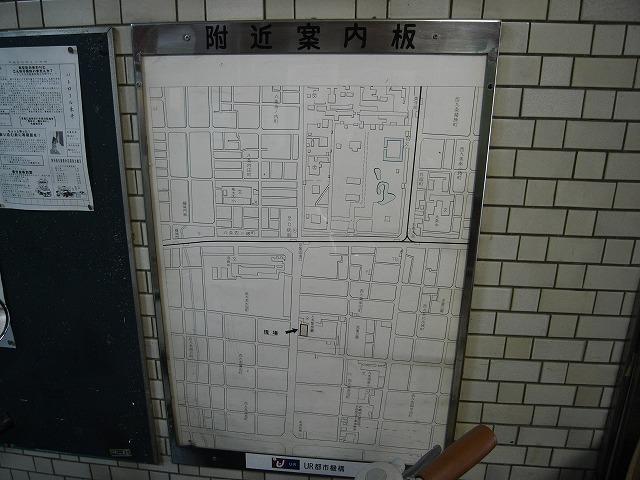 入口案内板 東寺の中までリアルに表示。 もちろん市電もまだ健在。