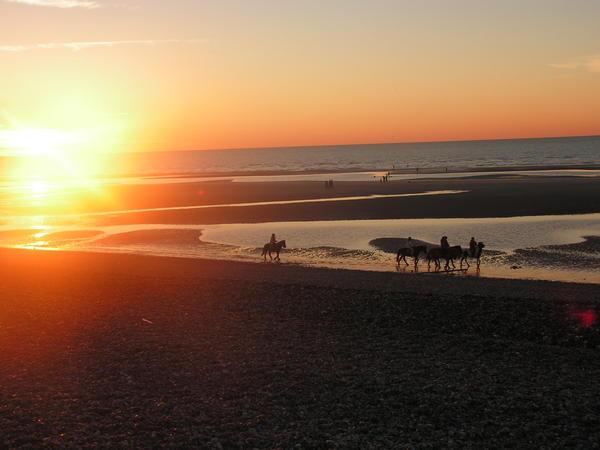 coucher de soleil sur la plage de Cayeux-sur-Mer