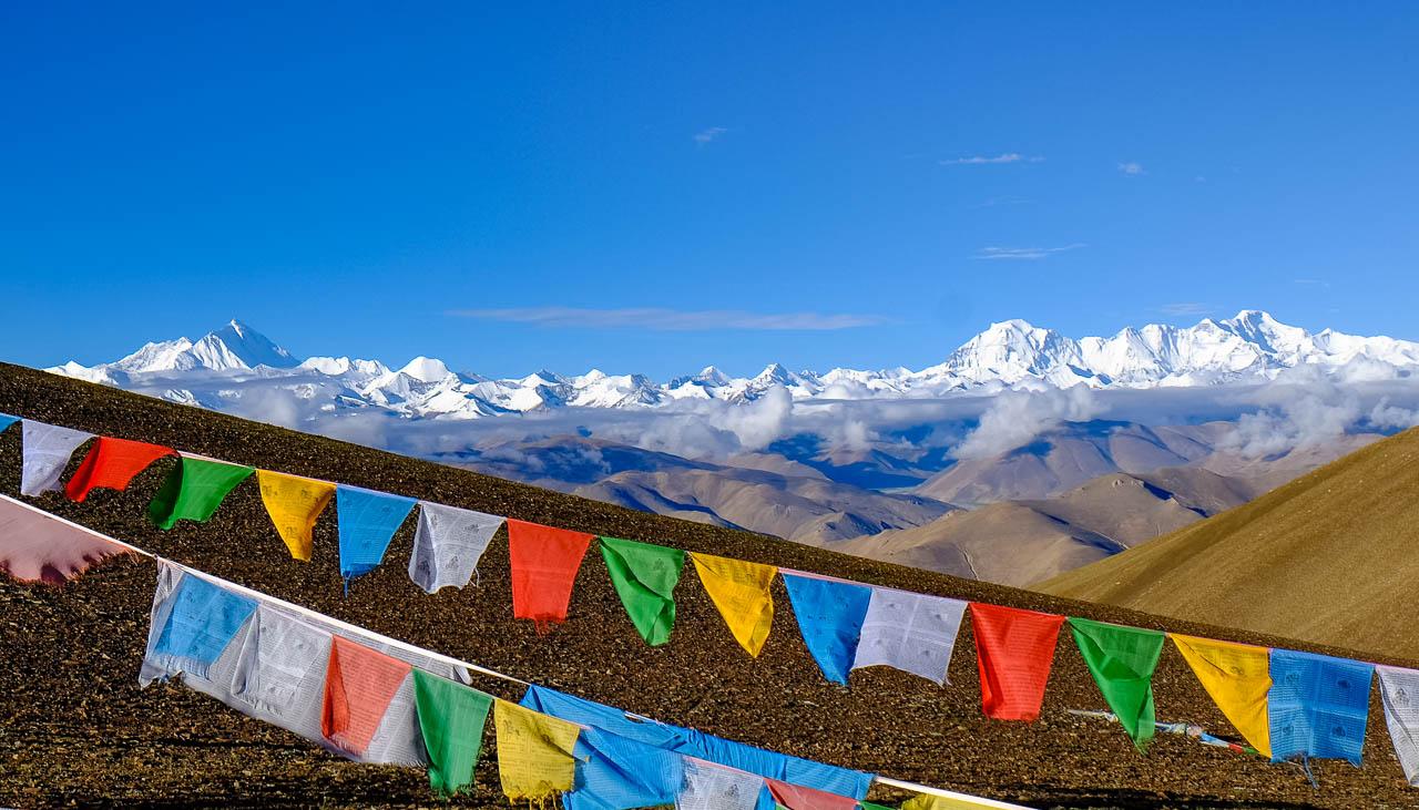 Blick auf Mount Everest und Cho Oyu vom Pass Pang La in Tibet