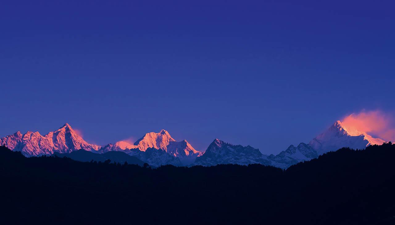 Kangchendzönga, dritthöchster Berg der Welt, von Darjeeling her gesehen