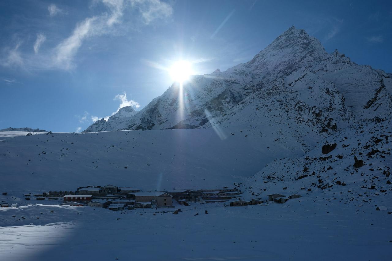 Nach 24 Stunden Schneesturm die ersten Sonnenstrahlen.