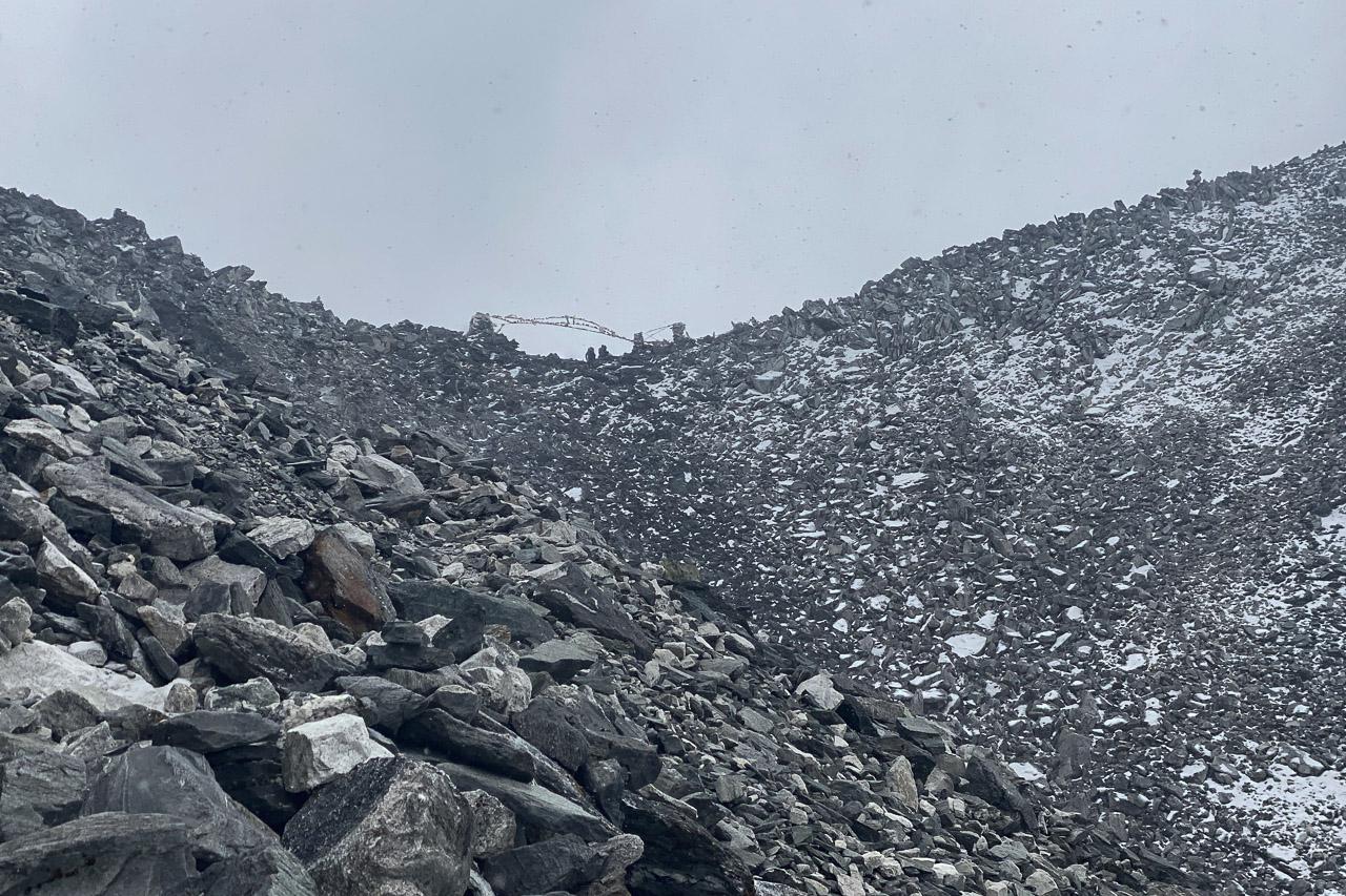 Die ersten Schneeflocken wirbeln auf der Passhöhe des Kongma La durch die Luft.
