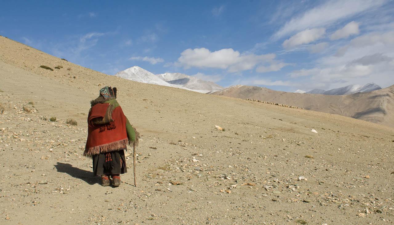Nomadenfrau auf dem Weg zum Lager